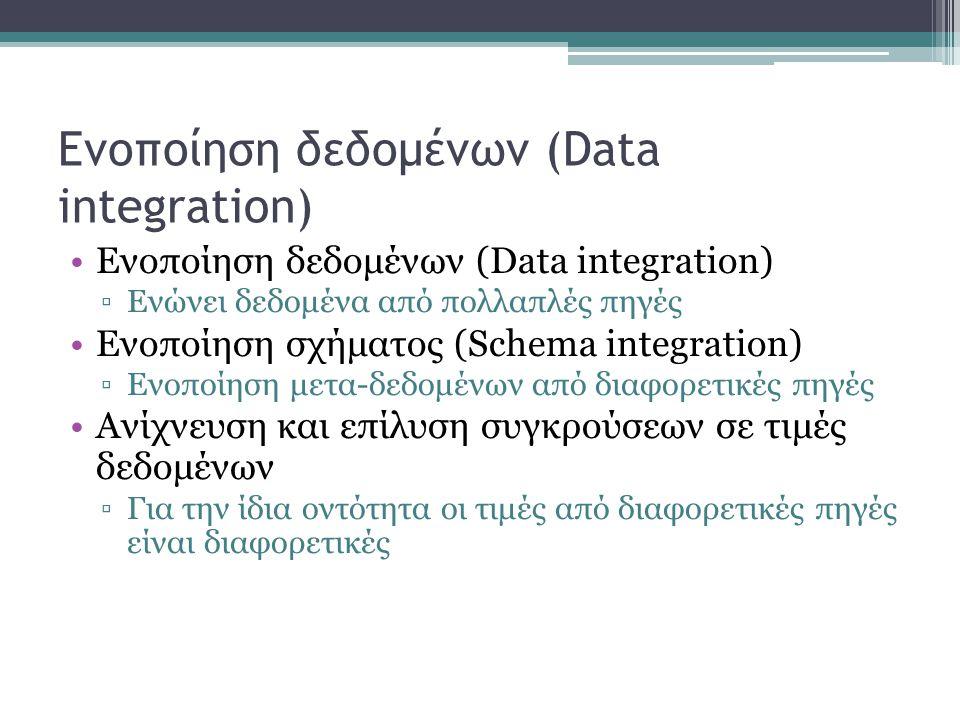 Ενοποίηση δεδομένων (Data integration) ▫Ενώνει δεδομένα από πολλαπλές πηγές Ενοποίηση σχήματος (Schema integration) ▫Ενοποίηση μετα-δεδομένων από διαφορετικές πηγές Ανίχνευση και επίλυση συγκρούσεων σε τιμές δεδομένων ▫Για την ίδια οντότητα οι τιμές από διαφορετικές πηγές είναι διαφορετικές