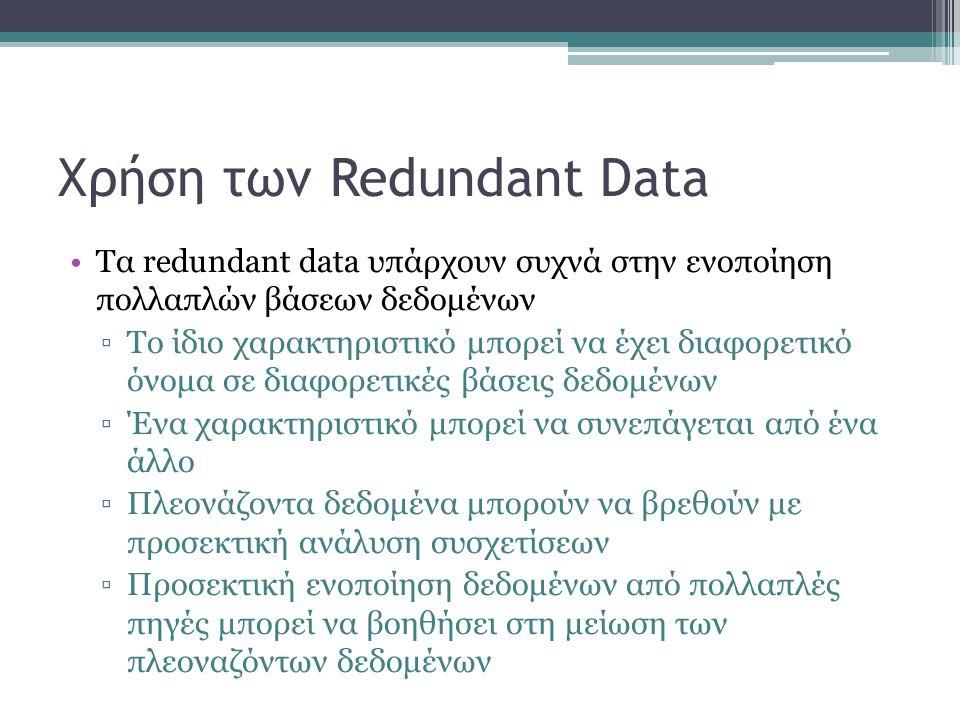 Χρήση των Redundant Data Τα redundant data υπάρχουν συχνά στην ενοποίηση πολλαπλών βάσεων δεδομένων ▫Το ίδιο χαρακτηριστικό μπορεί να έχει διαφορετικό όνομα σε διαφορετικές βάσεις δεδομένων ▫Ένα χαρακτηριστικό μπορεί να συνεπάγεται από ένα άλλο ▫Πλεονάζοντα δεδομένα μπορούν να βρεθούν με προσεκτική ανάλυση συσχετίσεων ▫Προσεκτική ενοποίηση δεδομένων από πολλαπλές πηγές μπορεί να βοηθήσει στη μείωση των πλεοναζόντων δεδομένων