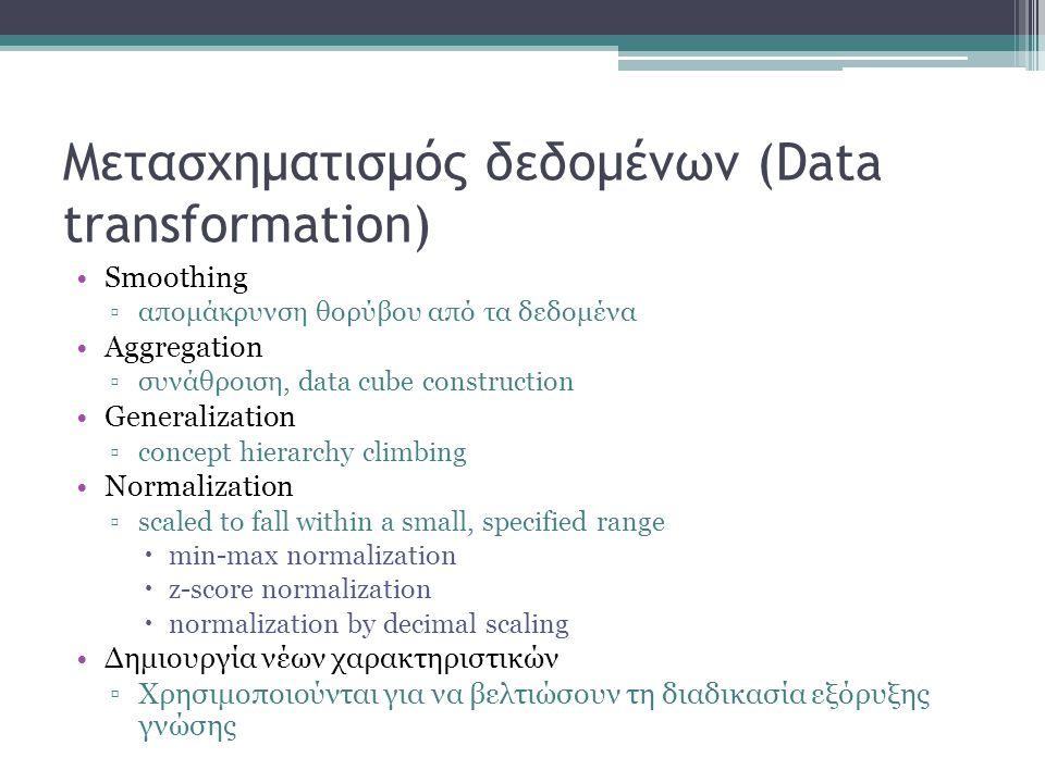 Μετασχηματισμός δεδομένων (Data transformation) Smoothing ▫απομάκρυνση θορύβου από τα δεδομένα Aggregation ▫συνάθροιση, data cube construction Generalization ▫concept hierarchy climbing Normalization ▫scaled to fall within a small, specified range  min-max normalization  z-score normalization  normalization by decimal scaling Δημιουργία νέων χαρακτηριστικών ▫Χρησιμοποιούνται για να βελτιώσουν τη διαδικασία εξόρυξης γνώσης
