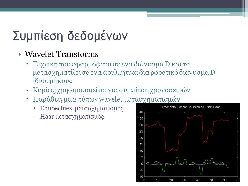 Συμπίεση δεδομένων Wavelet Transforms ▫Τεχνική που εφαρμόζεται σε ένα διάνυσμα D και το μετασχηματίζει σε ένα αριθμητικά διαφορετικό διάνυσμα D' ίδιου μήκους ▫Κυρίως χρησιμοποιείται για συμπίεση χρονοσειρών ▫Παράδειγμα 2 τύπων wavelet μετασχηματισμών ▫Daubechies μετασχηματισμός ▫Haar μετασχηματισμός