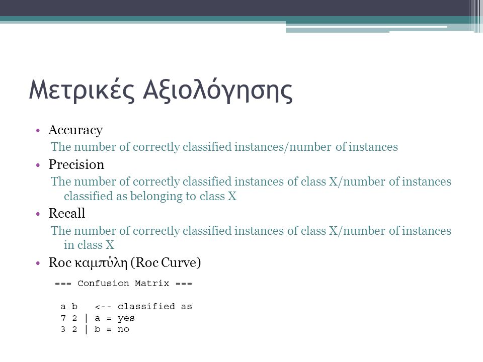 Μετρικές Αξιολόγησης Αccuracy The number of correctly classified instances/number of instances Precision The number of correctly classified instances