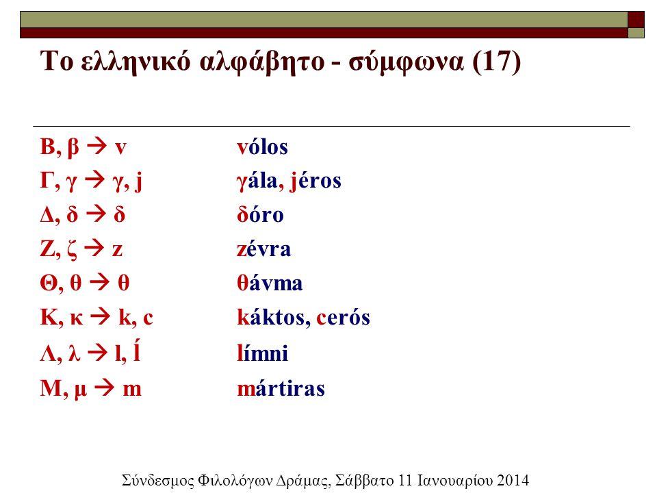 Το ελληνικό αλφάβητο - σύμφωνα (17) Β, β  vvólos Γ, γ  γ, jγála, jéros Δ, δ  δδóro Ζ, ζ  zzévra Θ, θ  θθávma Κ, κ  k, ckáktos, cerós Λ, λ  l, ĺ