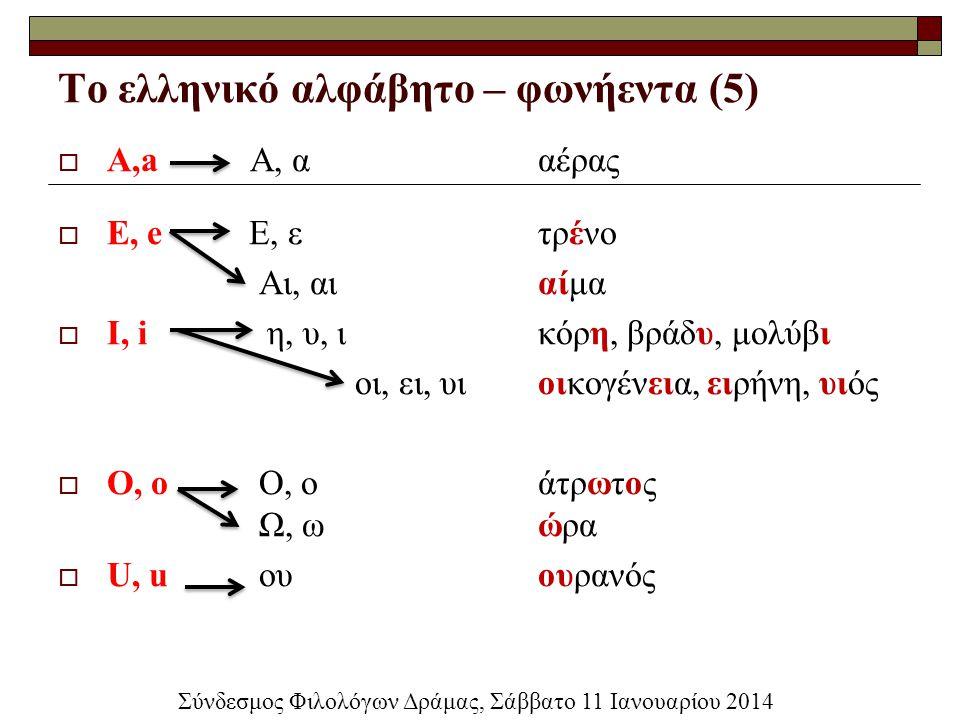 Το ελληνικό αλφάβητο – φωνήεντα (5)  A,a Α, ααέρας  E, e Ε, ετρένο Αι, αιαίμα  I, i η, υ, ικόρη, βράδυ, μολύβι οι, ει, υιοικογένεια, ειρήνη, υιός 
