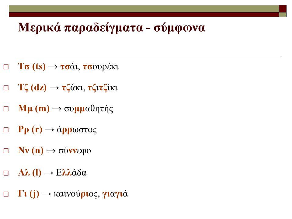 Μερικά παραδείγματα - σύμφωνα  Τσ (ts) → τσάι, τσουρέκι  Τζ (dz) → τζάκι, τζιτζίκι  Μμ (m) → συμμαθητής  Ρρ (r) → άρρωστος  Νν (n) → σύννεφο  Λλ