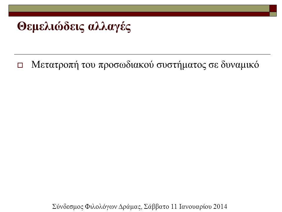 Θεμελιώδεις αλλαγές  Μετατροπή του προσωδιακού συστήματος σε δυναμικό Σύνδεσμος Φιλολόγων Δράμας, Σάββατο 11 Ιανουαρίου 2014