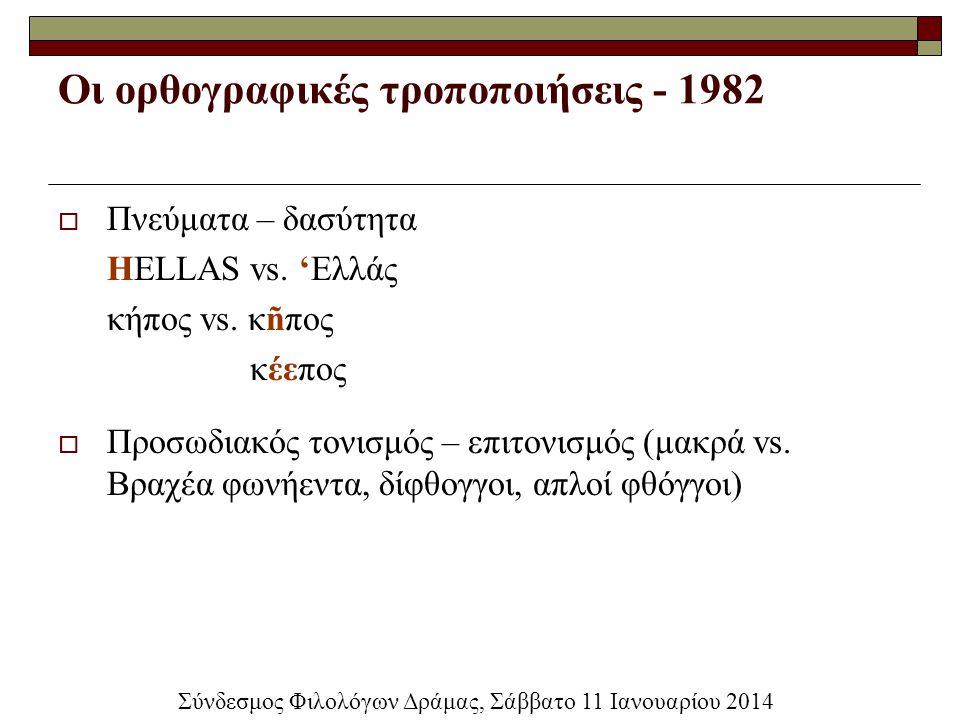 Οι ορθογραφικές τροποποιήσεις - 1982  Πνεύματα – δασύτητα HELLAS vs. 'Ελλάς κήπος vs. κñπος κέεπος  Προσωδιακός τονισμός – επιτονισμός (μακρά vs. Βρ