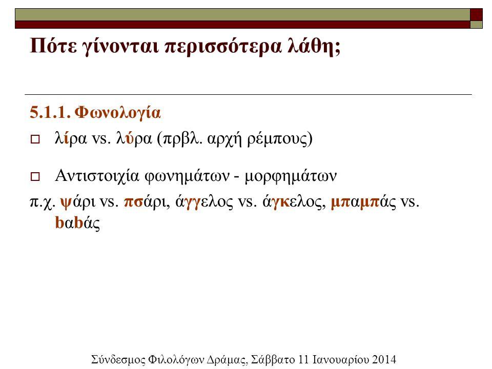 Πότε γίνονται περισσότερα λάθη; 5.1.1. Φωνολογία  λίρα vs. λύρα (πρβλ. αρχή ρέμπους)  Αντιστοιχία φωνημάτων - μορφημάτων π.χ. ψάρι vs. πσάρι, άγγελο