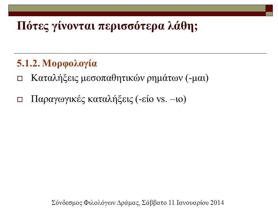 Πότες γίνονται περισσότερα λάθη; 5.1.2. Μορφολογία  Καταλήξεις μεσοπαθητικών ρημάτων (-μαι)  Παραγωγικές καταλήξεις (-είο vs. –ιο) Σύνδεσμος Φιλολόγ