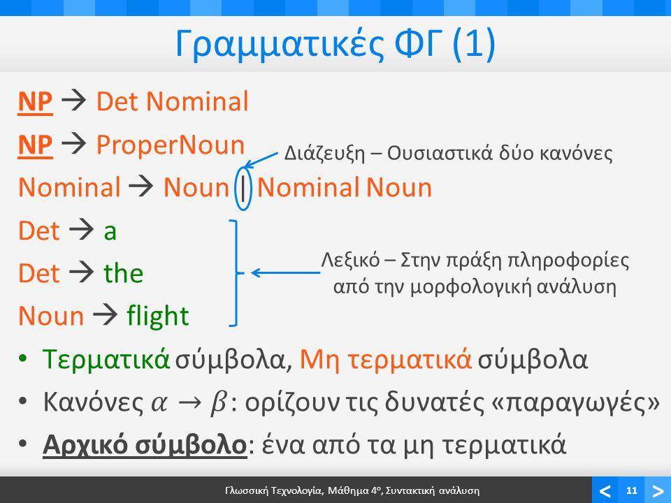 <> Γραμματικές ΦΓ (1) Γλωσσική Τεχνολογία, Μάθημα 4 ο, Συντακτική ανάλυση11 Διάζευξη – Ουσιαστικά δύο κανόνες Λεξικό – Στην πράξη πληροφορίες από την μορφολογική ανάλυση