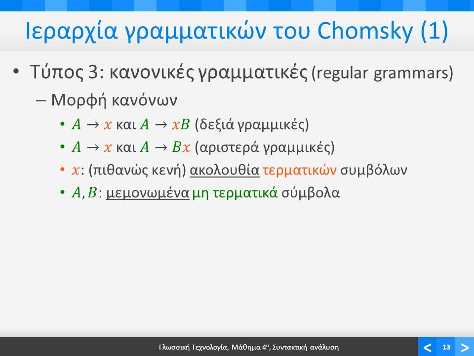 <> Ιεραρχία γραμματικών του Chomsky (1) Γλωσσική Τεχνολογία, Μάθημα 4 ο, Συντακτική ανάλυση13