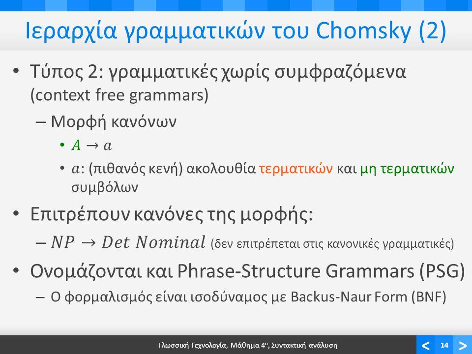 <> Ιεραρχία γραμματικών του Chomsky (2) Γλωσσική Τεχνολογία, Μάθημα 4 ο, Συντακτική ανάλυση14