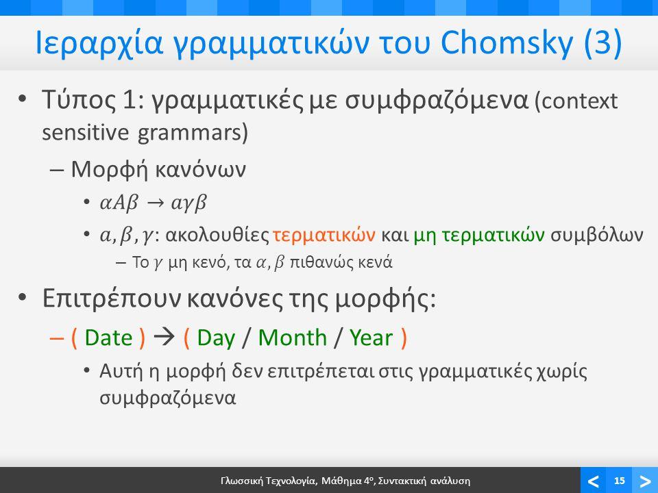 <> Ιεραρχία γραμματικών του Chomsky (3) Γλωσσική Τεχνολογία, Μάθημα 4 ο, Συντακτική ανάλυση15