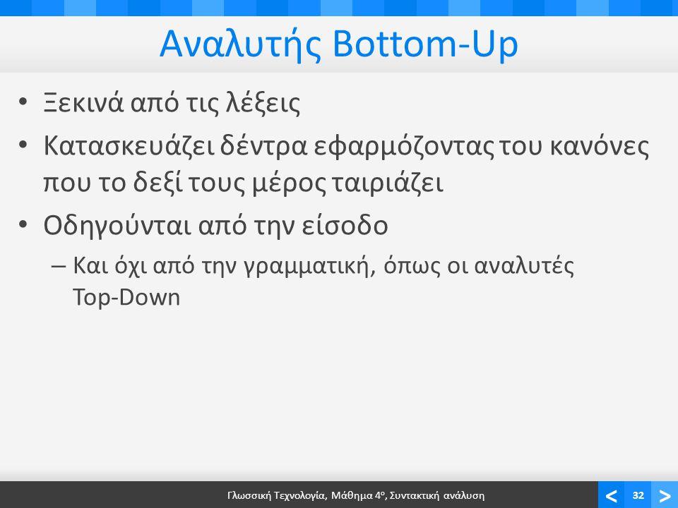 <> Αναλυτής Bottom-Up Ξεκινά από τις λέξεις Κατασκευάζει δέντρα εφαρμόζοντας του κανόνες που το δεξί τους μέρος ταιριάζει Οδηγούνται από την είσοδο – Και όχι από την γραμματική, όπως οι αναλυτές Top-Down Γλωσσική Τεχνολογία, Μάθημα 4 ο, Συντακτική ανάλυση32