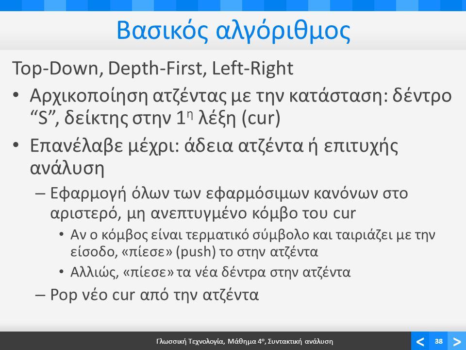 <> Βασικός αλγόριθμος Top-Down, Depth-First, Left-Right Αρχικοποίηση ατζέντας με την κατάσταση: δέντρο S , δείκτης στην 1 η λέξη (cur) Επανέλαβε μέχρι: άδεια ατζέντα ή επιτυχής ανάλυση – Εφαρμογή όλων των εφαρμόσιμων κανόνων στο αριστερό, μη ανεπτυγμένο κόμβο του cur Αν ο κόμβος είναι τερματικό σύμβολο και ταιριάζει με την είσοδο, «πίεσε» (push) το στην ατζέντα Αλλιώς, «πίεσε» τα νέα δέντρα στην ατζέντα – Pop νέο cur από την ατζέντα Γλωσσική Τεχνολογία, Μάθημα 4 ο, Συντακτική ανάλυση38