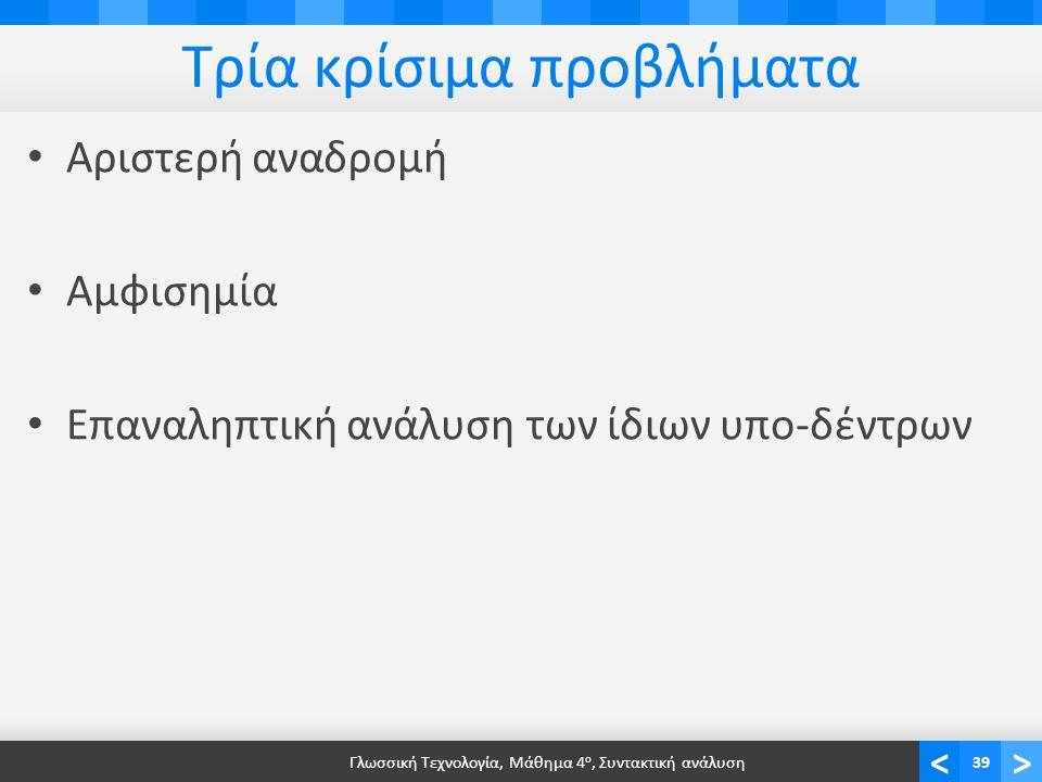 <> Τρία κρίσιμα προβλήματα Αριστερή αναδρομή Αμφισημία Επαναληπτική ανάλυση των ίδιων υπο-δέντρων Γλωσσική Τεχνολογία, Μάθημα 4 ο, Συντακτική ανάλυση3