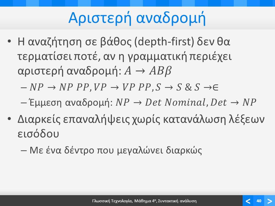 <> Αριστερή αναδρομή Γλωσσική Τεχνολογία, Μάθημα 4 ο, Συντακτική ανάλυση40