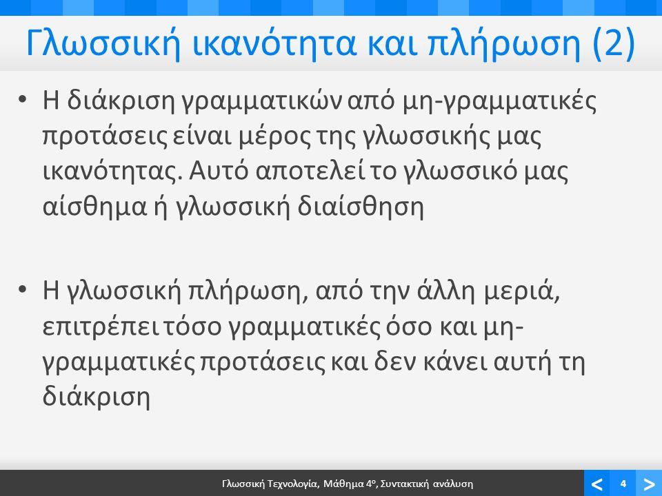 <> Ανακεφαλαίωση Σύνταξη Συντακτική ανάλυση Συντακτικά δέντρα Γραμματικές Ιεραρχία γραμματικών Chomsky Παραγωγική ισχύ γραμματικών Αντιστοιχία με μοντέλα υπολογισμού Τύποι γραμματικών για την ΕΦΓ Γλωσσική Τεχνολογία, Μάθημα 4 ο, Συντακτική ανάλυση25