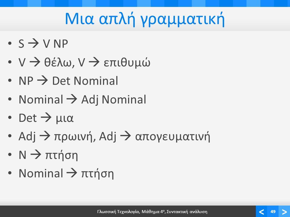 <> Μια απλή γραμματική S  V NP V  θέλω, V  επιθυμώ NP  Det Nominal Nominal  Adj Nominal Det  μια Adj  πρωινή, Adj  απογευματινή N  πτήση Nominal  πτήση Γλωσσική Τεχνολογία, Μάθημα 4 ο, Συντακτική ανάλυση49