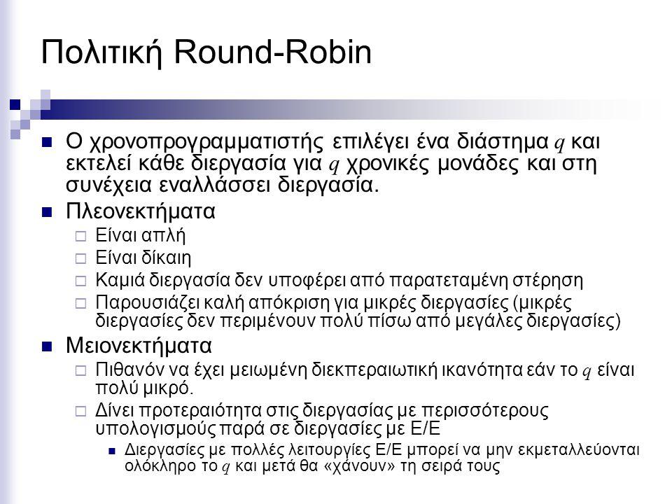 Πολιτική Round-Robin Ο χρονοπρογραμματιστής επιλέγει ένα διάστημα q και εκτελεί κάθε διεργασία για q χρονικές μονάδες και στη συνέχεια εναλλάσσει διερ