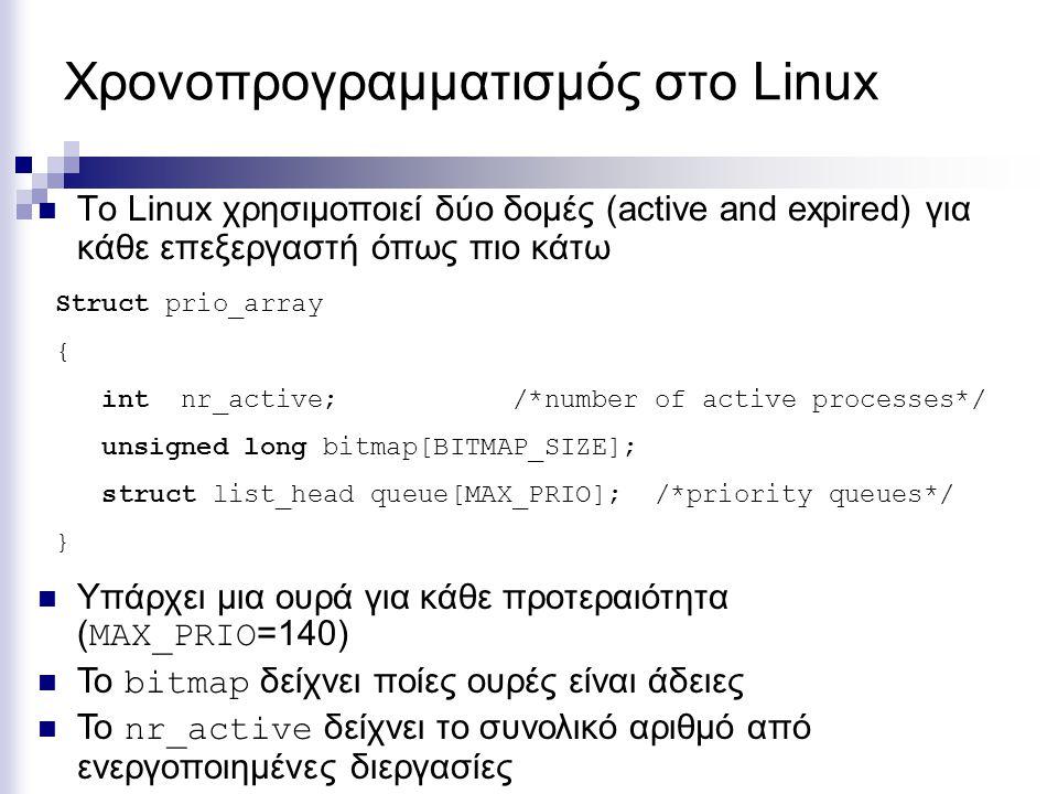 Χρονοπρογραμματισμός στο Linux Το Linux χρησιμοποιεί δύο δομές (active and expired) για κάθε επεξεργαστή όπως πιο κάτω Struct prio_array { int nr_acti