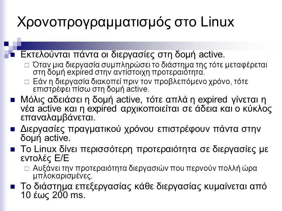 Χρονοπρογραμματισμός στο Linux Εκτελούνται πάντα οι διεργασίες στη δομή active.  Όταν μια διεργασία συμπληρώσει το διάστημα της τότε μεταφέρεται στη