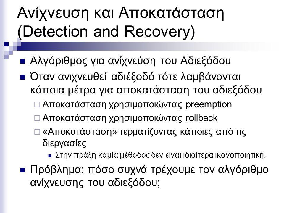 Ανίχνευση και Αποκατάσταση (Detection and Recovery) Αλγόριθμος για ανίχνεύση του Αδιεξόδου Όταν ανιχνευθεί αδιέξοδό τότε λαμβάνονται κάποια μέτρα για