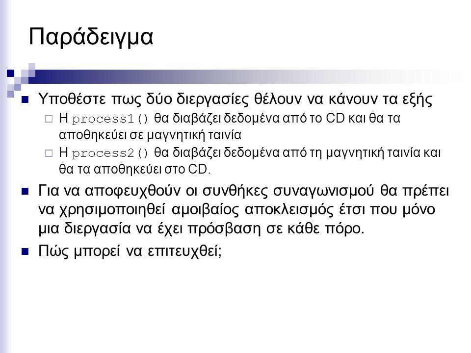 Παράδειγμα Υποθέστε πως δύο διεργασίες θέλουν να κάνουν τα εξής  Η process1() θα διαβάζει δεδομένα από το CD και θα τα αποθηκεύει σε μαγνητική ταινία
