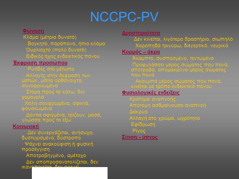 NCCPC-PV Φώνηση Κλάμα (μέτρια δυνατό) Βογκητό, παράπονο, ήπιο κλάμα Ουρλιαχτό (πολύ δυνατό) Ειδικός ήχος ενδεικτικός πόνου Έκφραση προσώπου Ρυτίδες στ