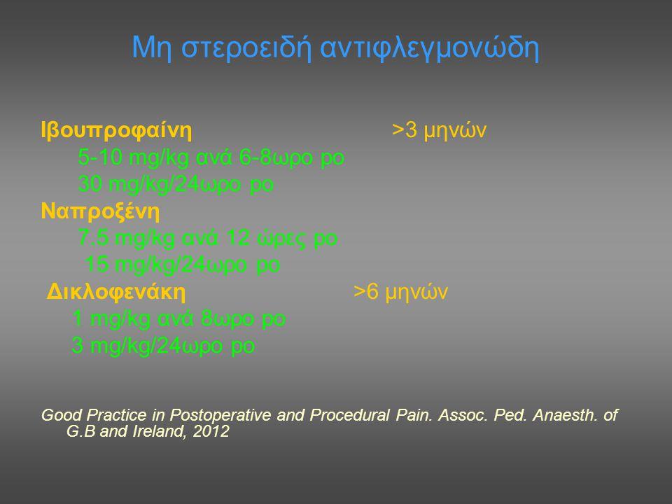 Μη στεροειδή αντιφλεγμονώδη Ιβουπροφαίνη >3 μηνών 5-10 mg/kg ανά 6-8ωρο po 30 mg/kg/24ωρο po Ναπροξένη 7.5 mg/kg ανά 12 ώρες po 15 mg/kg/24ωρο po Δικλ
