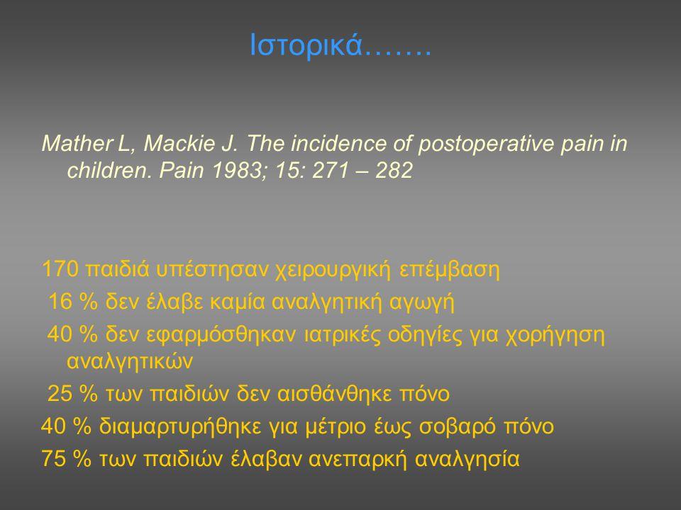 Ιστορικά……. Mather L, Mackie J. The incidence of postoperative pain in children. Pain 1983; 15: 271 – 282 170 παιδιά υπέστησαν χειρουργική επέμβαση 16