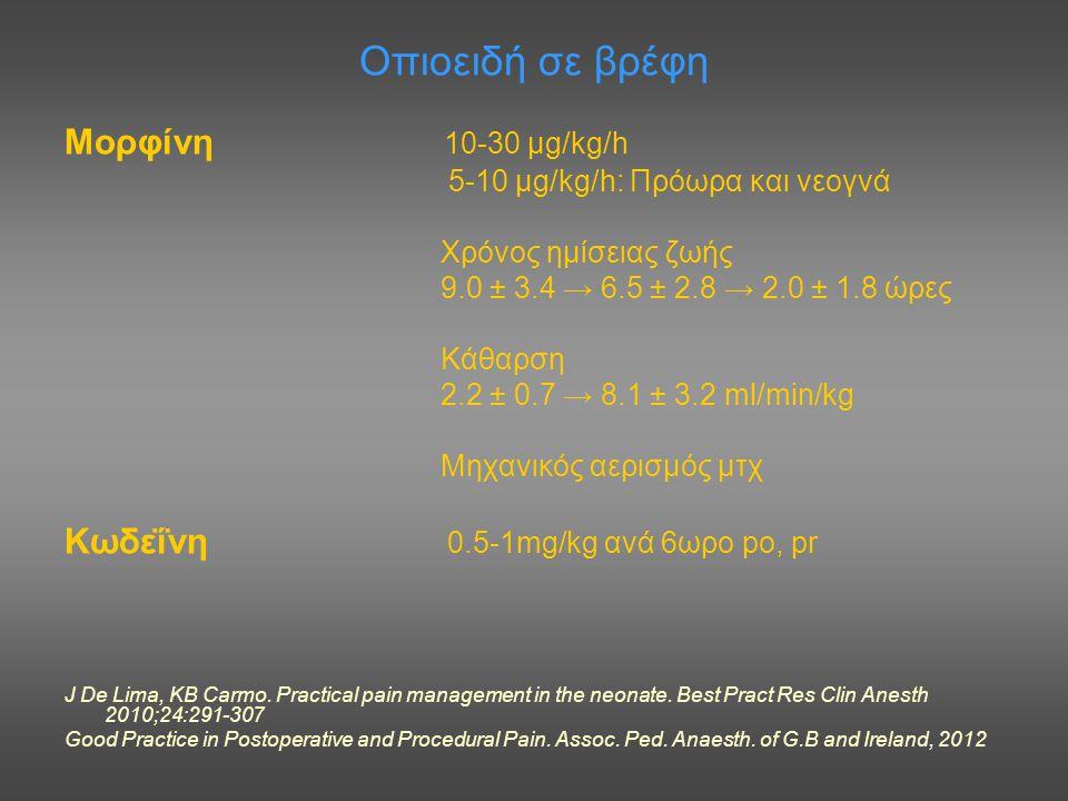 Οπιοειδή σε βρέφη Μορφίνη 10-30 μg/kg/h 5-10 μg/kg/h: Πρόωρα και νεογνά Χρόνος ημίσειας ζωής 9.0 ± 3.4 → 6.5 ± 2.8 → 2.0 ± 1.8 ώρες Κάθαρση 2.2 ± 0.7