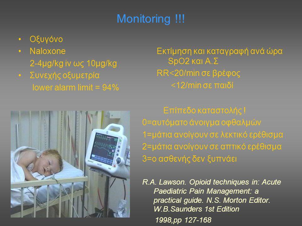 Monitoring !!! Οξυγόνο Naloxone 2-4μg/kg iv ως 10μg/kg Συνεχής οξυμετρία lower alarm limit = 94% Εκτίμηση και καταγραφή ανά ώρα SpO2 και Α.Σ RR<20/min
