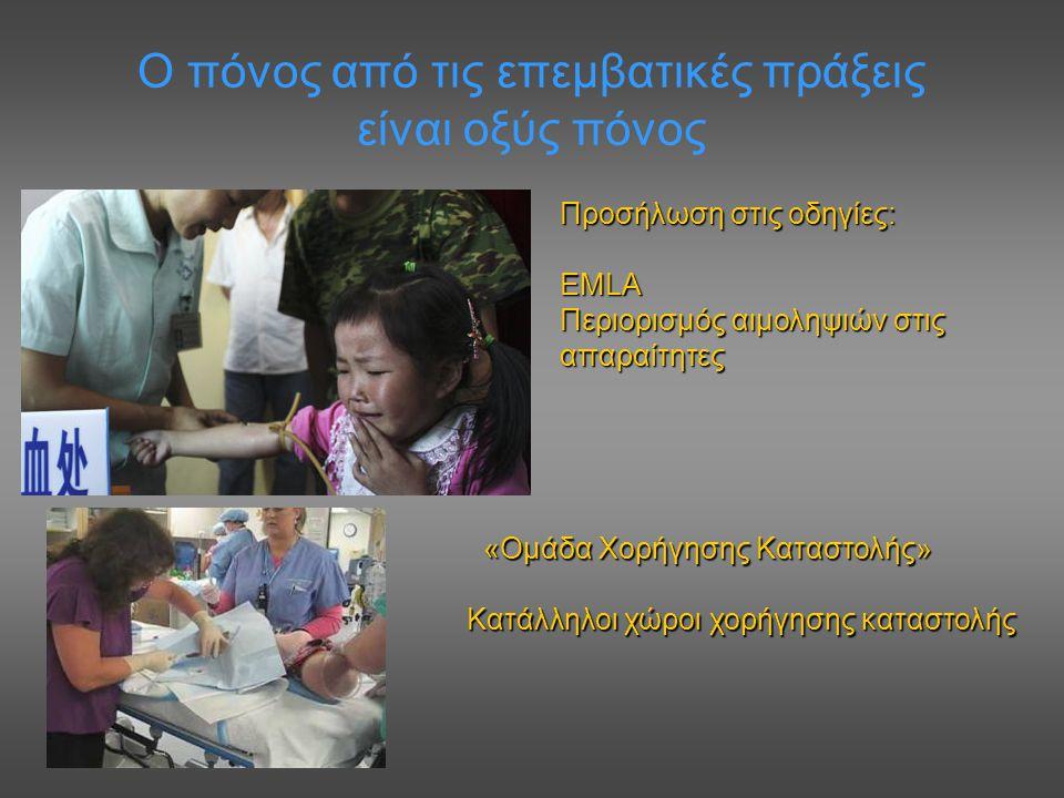 Ο πόνος από τις επεμβατικές πράξεις είναι οξύς πόνος Προσήλωση στις οδηγίες: EMLA Περιορισμός αιμοληψιών στις απαραίτητες «Ομάδα Χορήγησης Καταστολής»