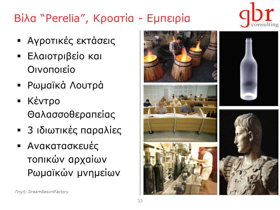 33 Βίλα Perelia , Κροατία - Εμπειρία  Αγροτικές εκτάσεις  Ελαιοτριβείο και Οινοποιείο  Ρωμαϊκά Λουτρά  Κέντρο Θαλασσοθεραπείας  3 ιδιωτικές παραλίες  Ανακατασκευές τοπικών αρχαίων Ρωμαϊκών μνημείων Πηγή: DreamResortFactory