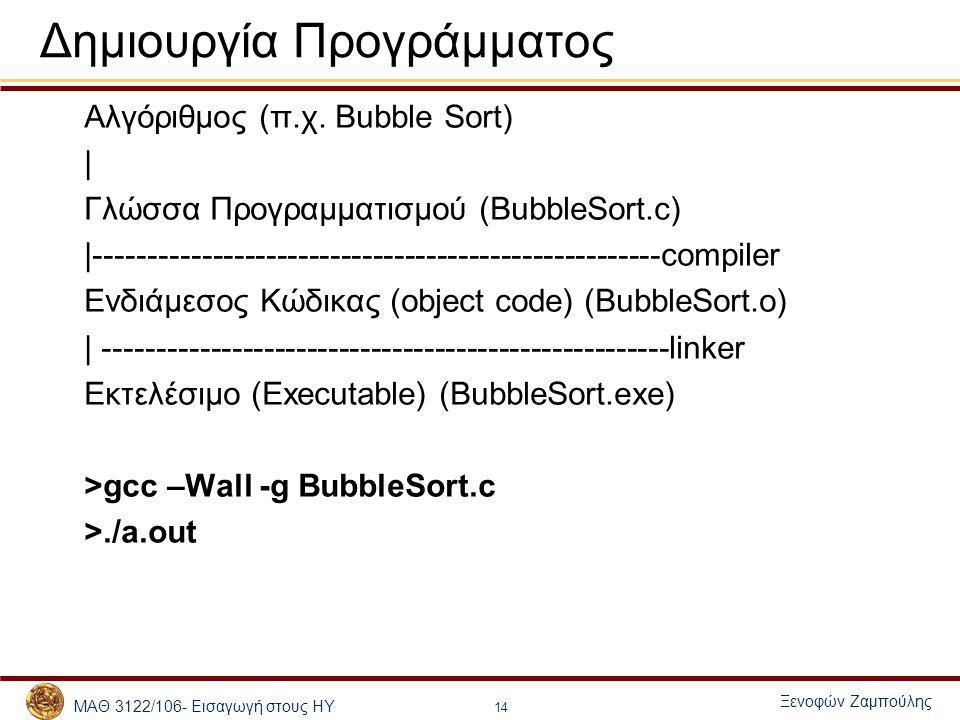 ΜΑΘ 3122/106- Εισαγωγή στους ΗΥ Ξενοφών Ζαμπούλης 14 Δημιουργία Προγράμματος Αλγόριθμος (π.χ. Bubble Sort) | Γλώσσα Προγραμματισμού (BubbleSort.c) |--