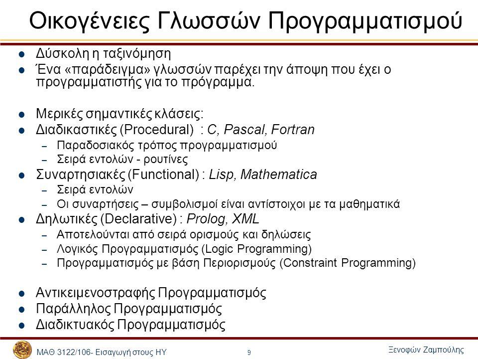 ΜΑΘ 3122/106- Εισαγωγή στους ΗΥ Ξενοφών Ζαμπούλης 9 Οικογένειες Γλωσσών Προγραμματισμού Δύσκολη η ταξινόμηση Ένα «παράδειγμα» γλωσσών παρέχει την άποψ