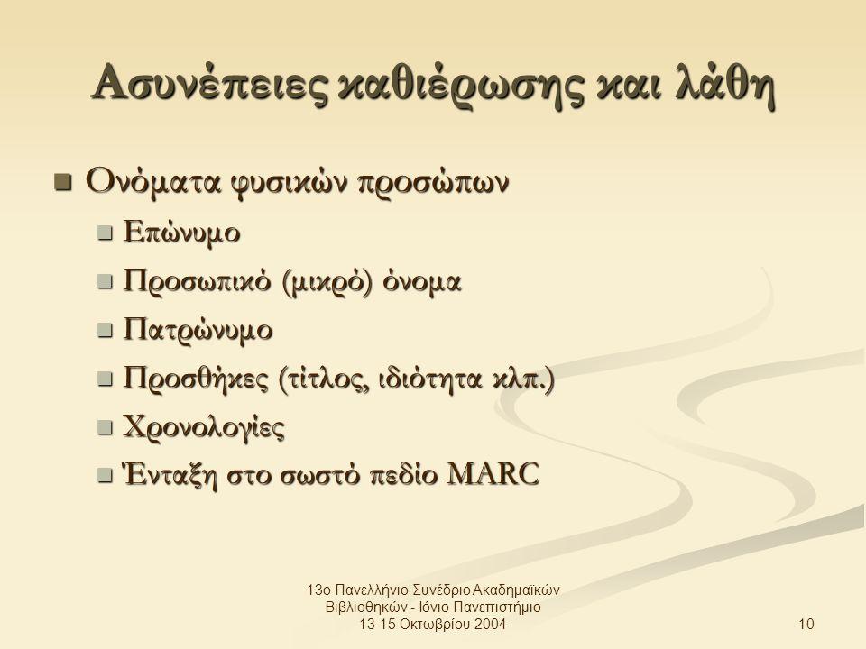 10 13ο Πανελλήνιο Συνέδριο Ακαδημαϊκών Βιβλιοθηκών - Ιόνιο Πανεπιστήμιο 13-15 Οκτωβρίου 2004 Ασυνέπειες καθιέρωσης και λάθη Ονόματα φυσικών προσώπων Ονόματα φυσικών προσώπων Επώνυμο Επώνυμο Προσωπικό (μικρό) όνομα Προσωπικό (μικρό) όνομα Πατρώνυμο Πατρώνυμο Προσθήκες (τίτλος, ιδιότητα κλπ.) Προσθήκες (τίτλος, ιδιότητα κλπ.) Χρονολογίες Χρονολογίες Ένταξη στο σωστό πεδίο MARC Ένταξη στο σωστό πεδίο MARC