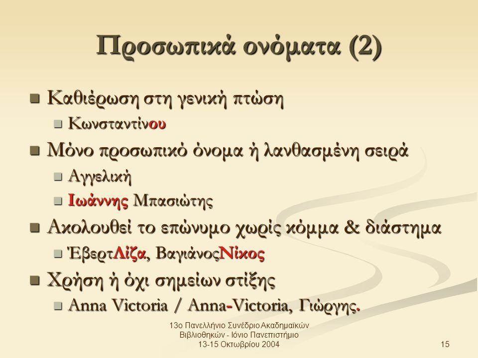 15 13ο Πανελλήνιο Συνέδριο Ακαδημαϊκών Βιβλιοθηκών - Ιόνιο Πανεπιστήμιο 13-15 Οκτωβρίου 2004 Προσωπικά ονόματα (2) Καθιέρωση στη γενική πτώση Καθιέρωση στη γενική πτώση Κωνσταντίνου Κωνσταντίνου Μόνο προσωπικό όνομα ή λανθασμένη σειρά Μόνο προσωπικό όνομα ή λανθασμένη σειρά Αγγελική Αγγελική Ιωάννης Μπασιώτης Ιωάννης Μπασιώτης Ακολουθεί το επώνυμο χωρίς κόμμα & διάστημα Ακολουθεί το επώνυμο χωρίς κόμμα & διάστημα ΈβερτΛίζα, ΒαγιάνοςΝίκος ΈβερτΛίζα, ΒαγιάνοςΝίκος Χρήση ή όχι σημείων στίξης Χρήση ή όχι σημείων στίξης Anna Victoria / Anna-Victoria, Γιώργης.