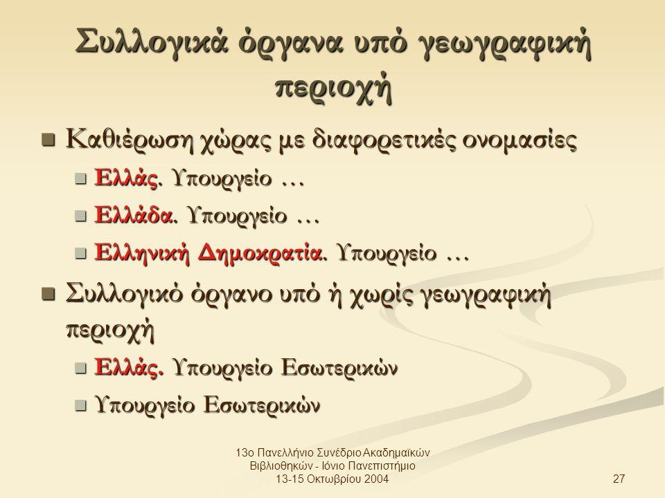 27 13ο Πανελλήνιο Συνέδριο Ακαδημαϊκών Βιβλιοθηκών - Ιόνιο Πανεπιστήμιο 13-15 Οκτωβρίου 2004 Συλλογικά όργανα υπό γεωγραφική περιοχή Καθιέρωση χώρας με διαφορετικές ονομασίες Καθιέρωση χώρας με διαφορετικές ονομασίες Ελλάς.