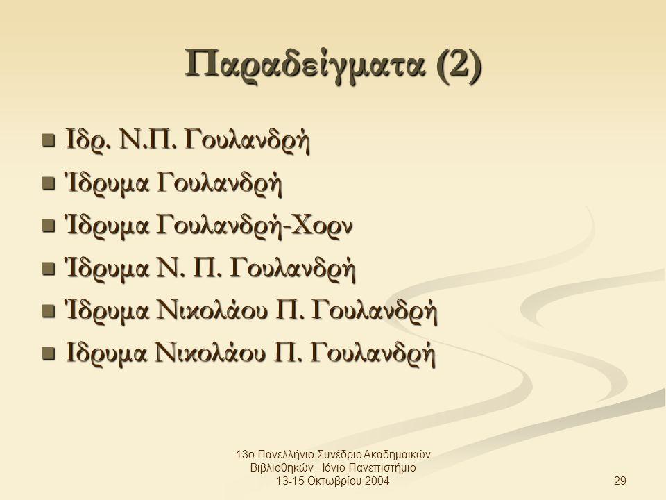 29 13ο Πανελλήνιο Συνέδριο Ακαδημαϊκών Βιβλιοθηκών - Ιόνιο Πανεπιστήμιο 13-15 Οκτωβρίου 2004 Παραδείγματα (2) Ιδρ.