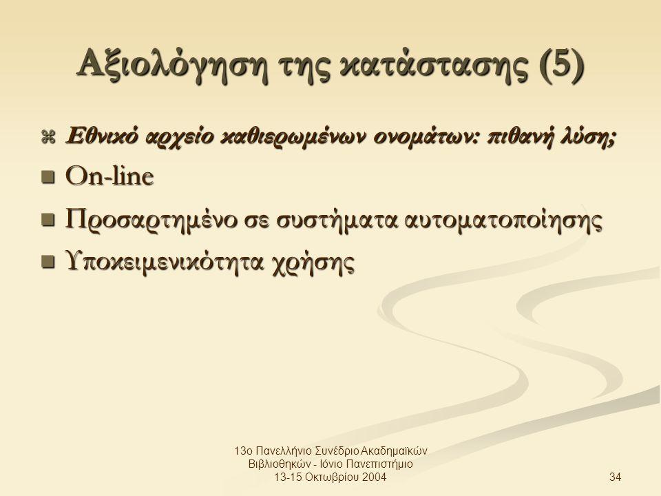 34 13ο Πανελλήνιο Συνέδριο Ακαδημαϊκών Βιβλιοθηκών - Ιόνιο Πανεπιστήμιο 13-15 Οκτωβρίου 2004 Αξιολόγηση της κατάστασης (5)  Εθνικό αρχείο καθιερωμένων ονομάτων: πιθανή λύση; On-line On-line Προσαρτημένο σε συστήματα αυτοματοποίησης Προσαρτημένο σε συστήματα αυτοματοποίησης Υποκειμενικότητα χρήσης Υποκειμενικότητα χρήσης