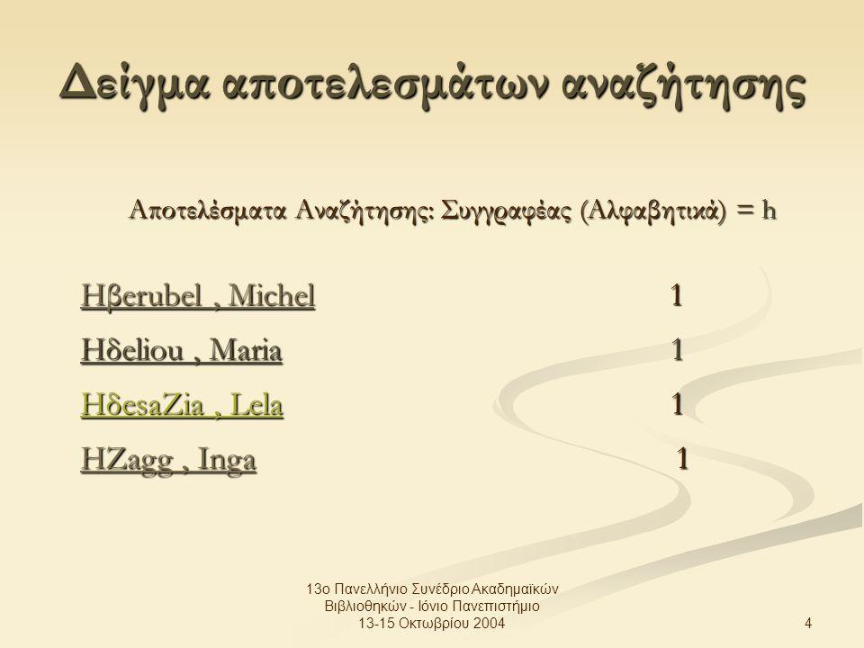 4 13ο Πανελλήνιο Συνέδριο Ακαδημαϊκών Βιβλιοθηκών - Ιόνιο Πανεπιστήμιο 13-15 Οκτωβρίου 2004 Δείγμα αποτελεσμάτων αναζήτησης Αποτελέσματα Αναζήτησης: Συγγραφέας (Αλφαβητικά) = h Hβerubel, MichelHβerubel, Michel 1 Hβerubel, Michel Ηδeliou, Maria 1 HδesaZia, Lela 1 HΖagg, IngaHΖagg, Inga 1 HΖagg, Inga