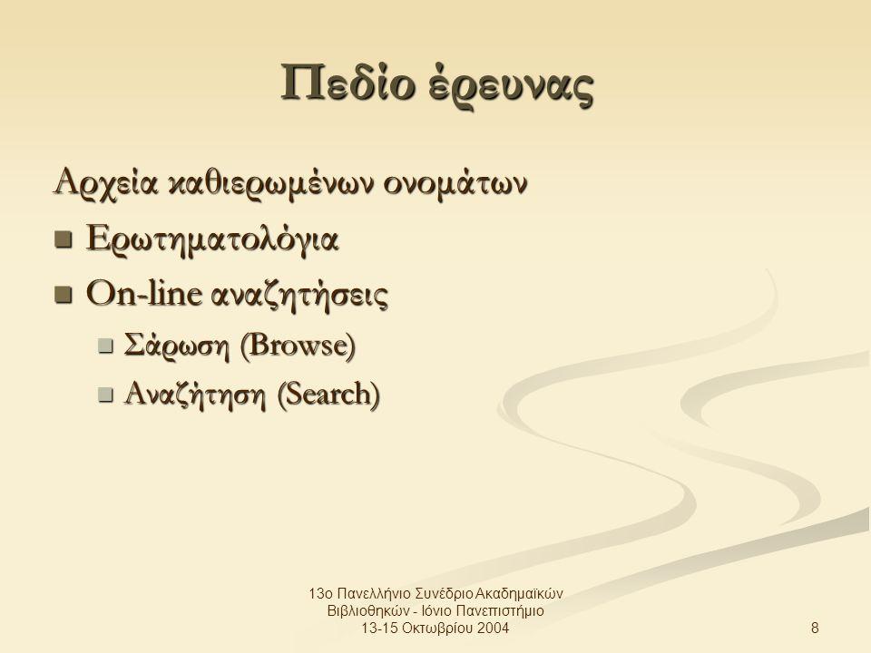 8 13ο Πανελλήνιο Συνέδριο Ακαδημαϊκών Βιβλιοθηκών - Ιόνιο Πανεπιστήμιο 13-15 Οκτωβρίου 2004 Πεδίο έρευνας Αρχεία καθιερωμένων ονομάτων Ερωτηματολόγια Ερωτηματολόγια On-line αναζητήσεις On-line αναζητήσεις Σάρωση (Browse) Σάρωση (Browse) Αναζήτηση (Search) Αναζήτηση (Search)