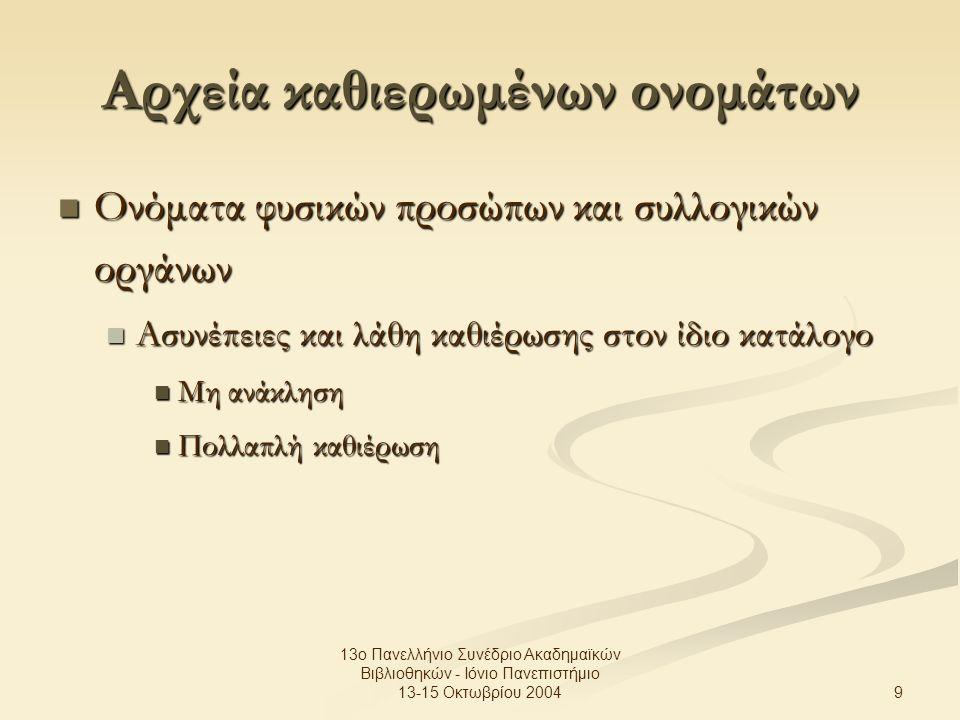 9 13ο Πανελλήνιο Συνέδριο Ακαδημαϊκών Βιβλιοθηκών - Ιόνιο Πανεπιστήμιο 13-15 Οκτωβρίου 2004 Αρχεία καθιερωμένων ονομάτων Ονόματα φυσικών προσώπων και συλλογικών οργάνων Ονόματα φυσικών προσώπων και συλλογικών οργάνων Ασυνέπειες και λάθη καθιέρωσης στον ίδιο κατάλογο Ασυνέπειες και λάθη καθιέρωσης στον ίδιο κατάλογο Μη ανάκληση Μη ανάκληση Πολλαπλή καθιέρωση Πολλαπλή καθιέρωση