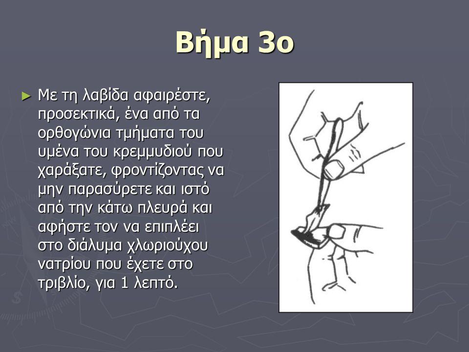 Βήμα 3ο ► Με τη λαβίδα αφαιρέστε, προσεκτικά, ένα από τα ορθογώνια τμήματα του υμένα του κρεμμυδιού που χαράξατε, φροντίζοντας να μην παρασύρετε και ι