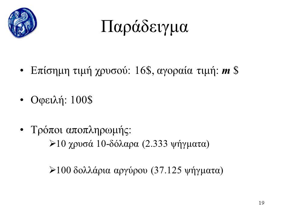 18 Ελεύθερη αγορά μετάλλων Η σχετική τιμή καθορίζεται βάσει της προσφοράς και της ζήτησης Αν η επίσημη τιμή αποκλίνει από την αγοραία Τότε Μετατροπή δ