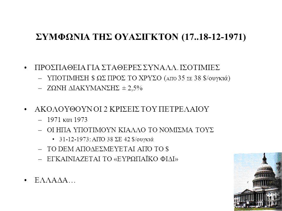 33 Η ΧΡΥΣΗ ΕΠΟΧΗ ΤΟΥ BRETTON WOODS (1959-1969) ΤΟ $ ΝΟΜΙΣΜΑ ΤΟΥ ΠΑΓΚΟΣΜΙΟΥ ΕΜΠΟΡΙΟΥ 1969. ΗΠΑ… –ΑΥΞΗΣΗ ΠΛΗΘΩΡΙΣΜΟΥ –ΣΥΡΡΙΚΝΩΣΗ ΕΜΠΟΡΙΚΟΥ ΠΛΕΟΝΑΣΜΑΤΟΣ
