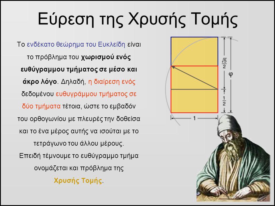 Εύρεση της Χρυσής Τομής Το ενδέκατο θεώρημα του Ευκλείδη είναι το πρόβλημα του χωρισμού ενός ευθύγραμμου τμήματος σε μέσο και άκρο λόγο. Δηλαδή, η δια
