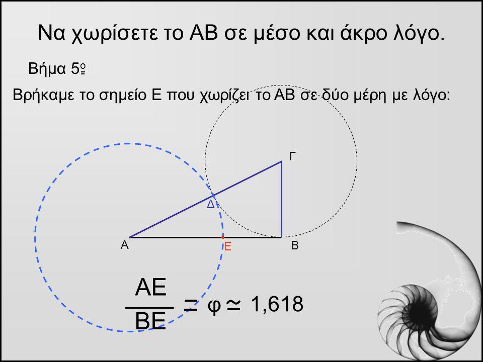 Να χωρίσετε το ΑΒ σε μέσο και άκρο λόγο. Βήμα 5 o Α Β Γ Βρήκαμε το σημείο Ε που χωρίζει το ΑΒ σε δύο μέρη με λόγο: Δ Ε ΑΕ ΒΕ φ 1,618