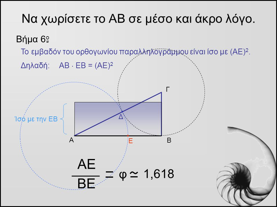 Να χωρίσετε το ΑΒ σε μέσο και άκρο λόγο. Βήμα 6 o Α Β Γ Το εμβαδόν του ορθογωνίου παραλληλογράμμου είναι ίσο με (ΑΕ) 2. Δηλαδή: ΑΒ  ΕΒ = (ΑΕ) 2 Δ Ε Α
